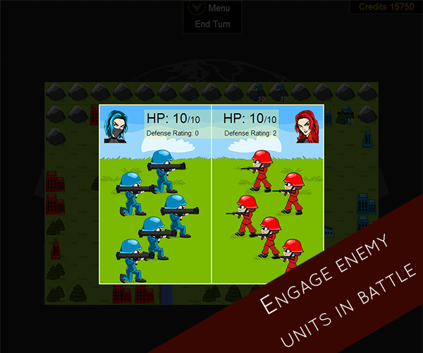 Engage your enemy units in battle